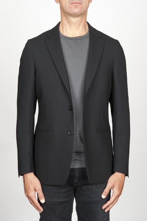Single breasted unlined 2 button jacket in black wool