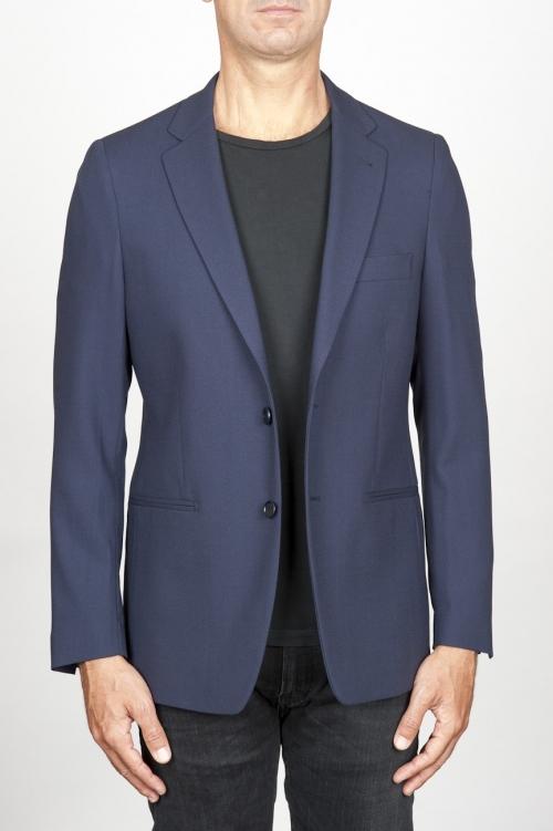 SBU 00916 Chaqueta stretch sin forro cierre de dos botones en lana azul 01