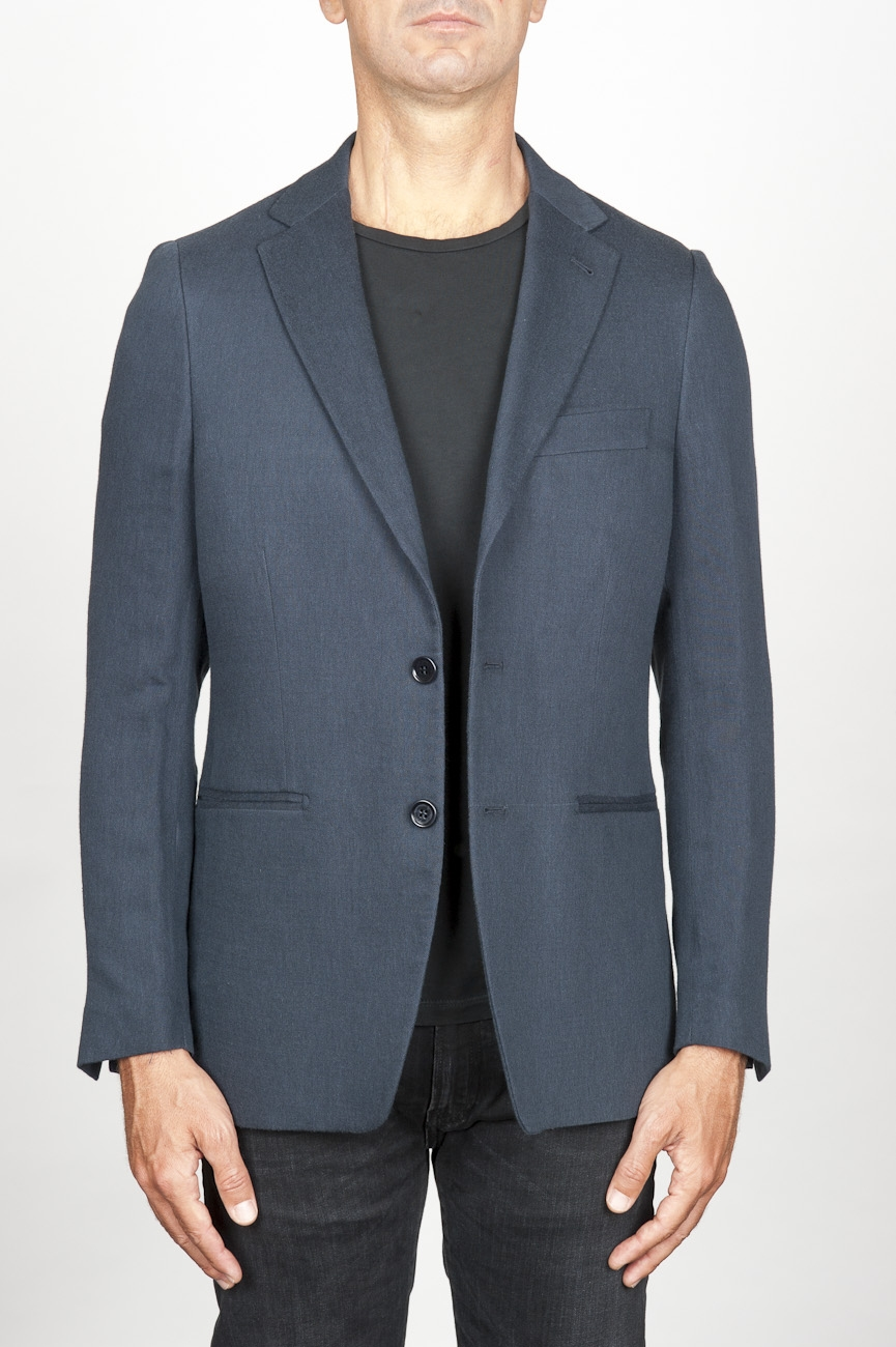 SBU 00917 Single breasted unlined 2 button jacket in blue wool 01