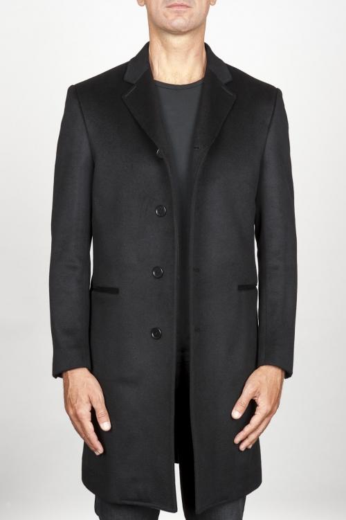 SBU 00918 Clásico abrigo masculino negro de cachemire 01