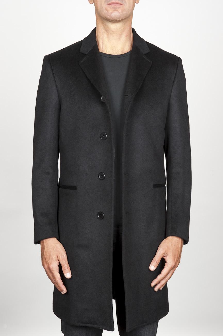 SBU 00918 Cappotto da uomo classico nero in cachemire sfoderato 01