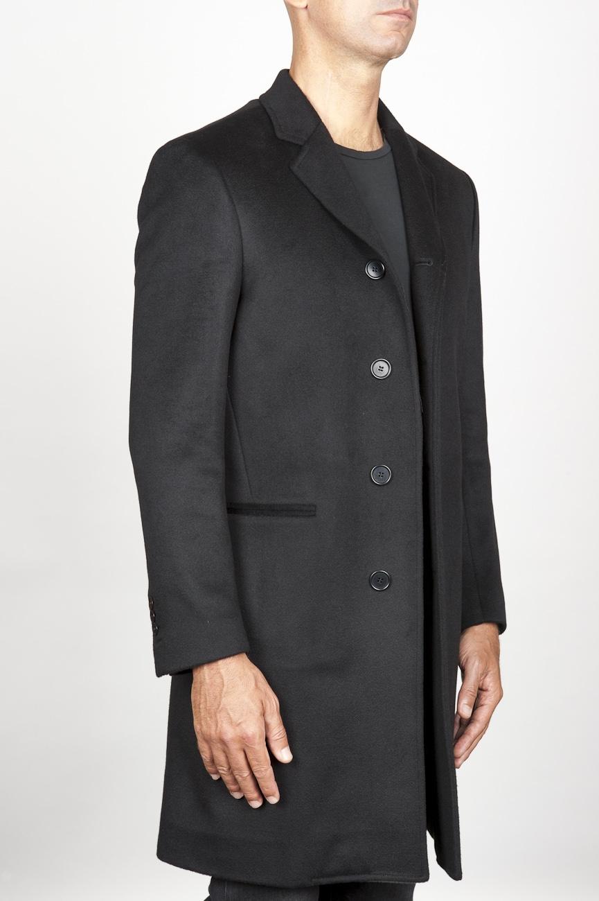Cappotto da uomo classico nero in cachemire sfoderato
