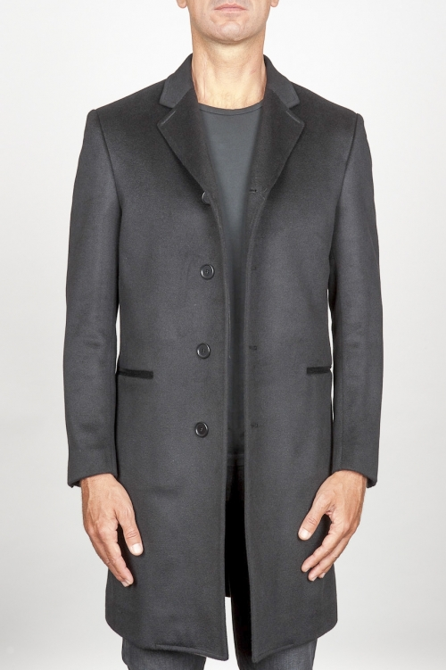 SBU 00919 Cappotto da uomo classico grigio in cachemire sfoderato 01