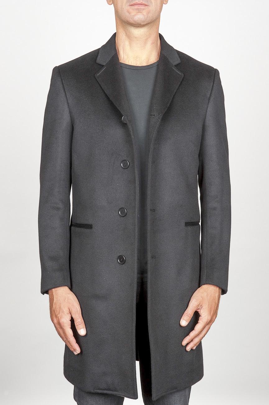 SBU 00919 Manteau en cachemire gris classique 01