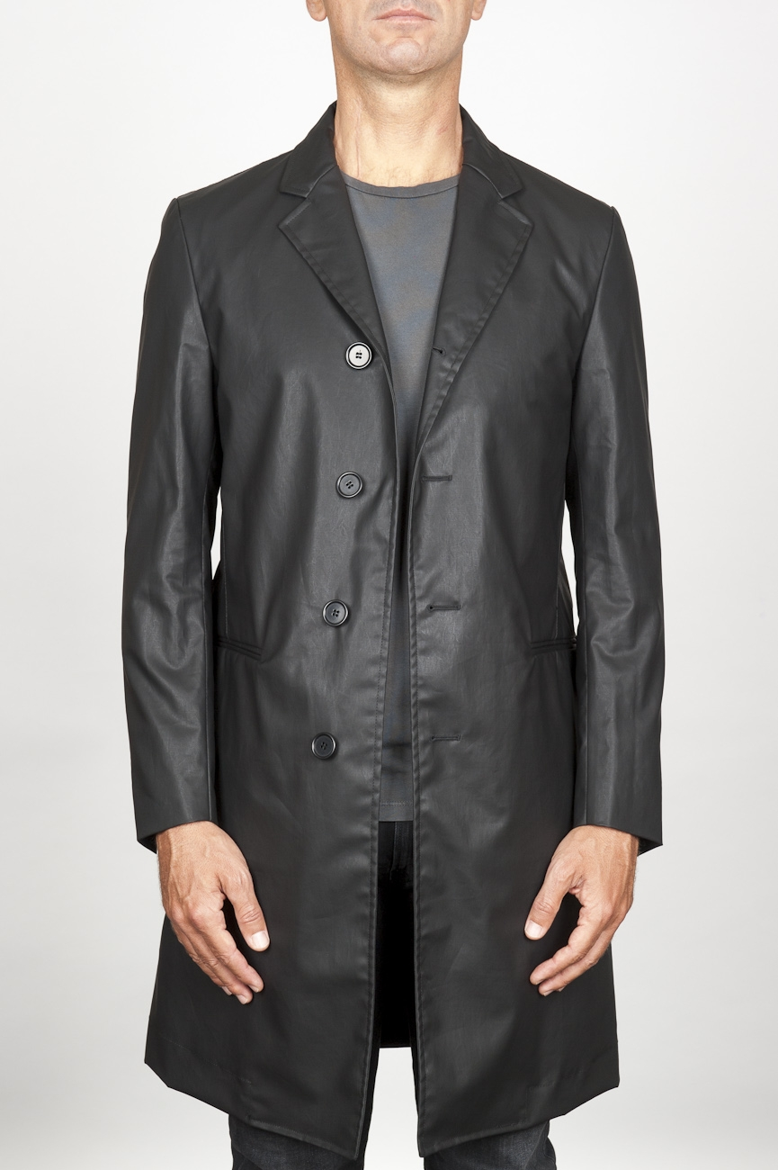 SBU 00920 Classic men's black waterproof raincoat in cotton blend 01