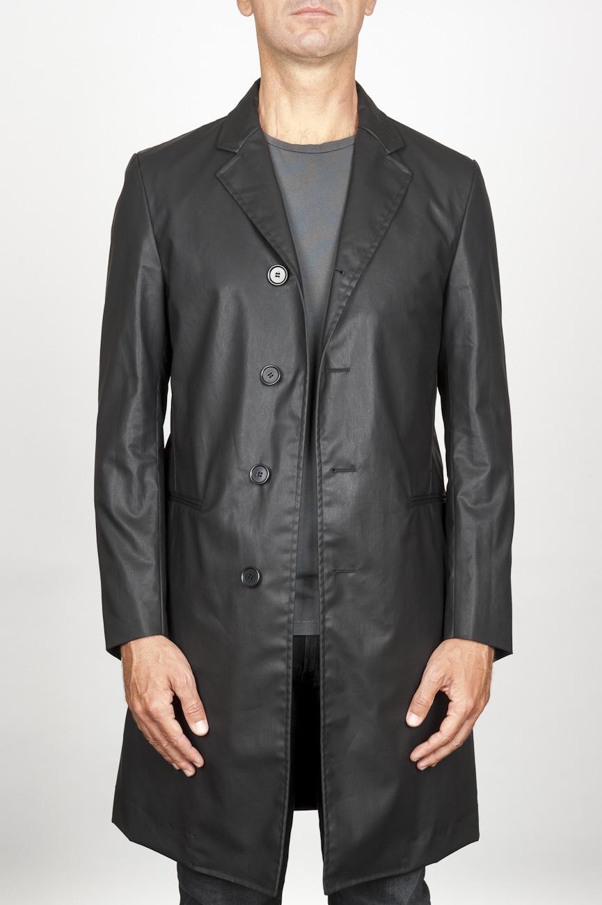 SBU 00920 Clásica gabardina masculina negra de algodón impermeable 01