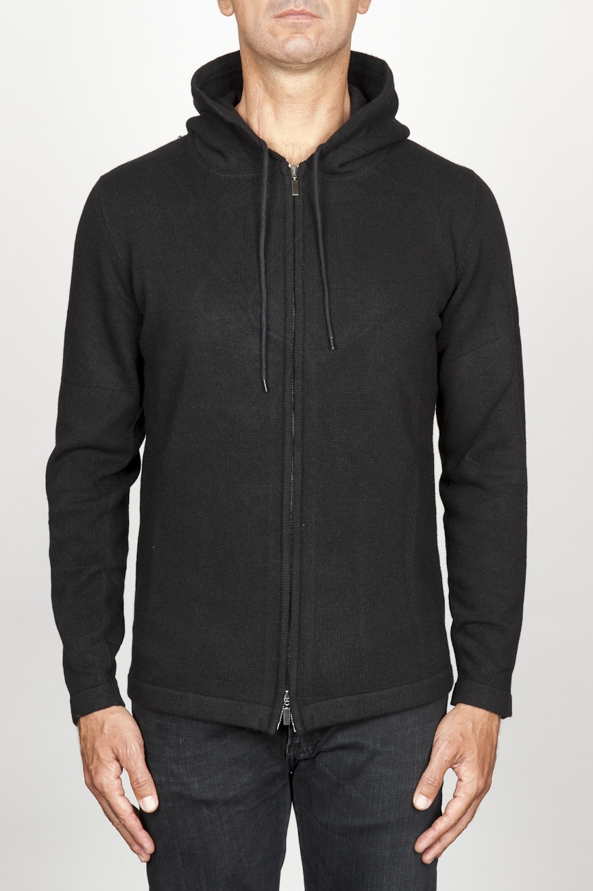 SBU 00942 Cashmere blend zipped hooded sweater black 01