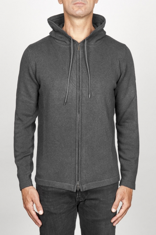 SBU 00943 Cashmere blend zipped hooded sweater grey 01