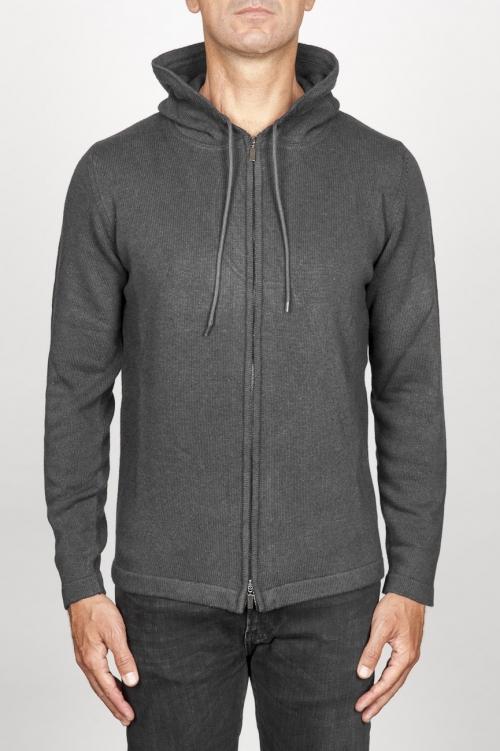 SBU 00943 Veste cachemire gris avec capuche et zip 01