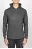 SBU 00943 Cashmere blend zipped hooded sweater grey 01