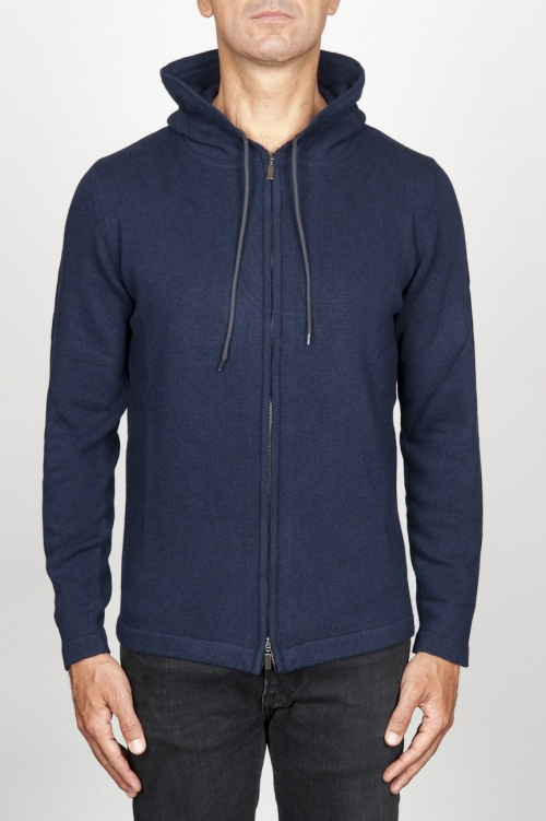 SBU 00944 Cashmere blend zipped hooded sweater blue 01