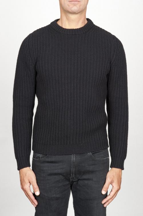 SBU 00945 Suéter clásico de cuello redondo en lana pura con punto de espiga negro 01