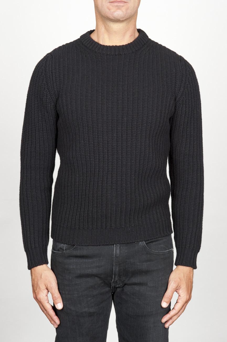 SBU 00945 Pullover girocollo classico nero in pura lana a costa inglese 01