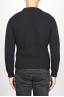 SBU 00945 Pullover girocollo classico nero in pura lana a costa inglese 04