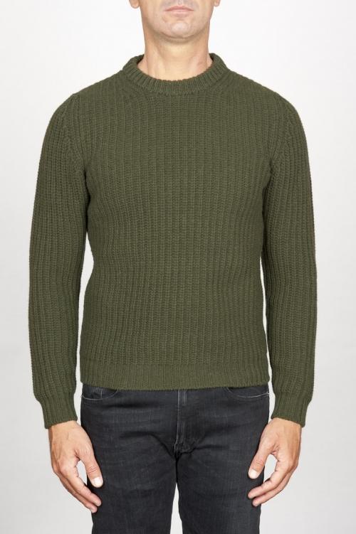 SBU 00946 緑の純粋なウールの漁師の肋骨の古典的なクルーネックのセーター 01