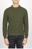 SBU 00946 Classic crew neck sweater in green pure wool fisherman's rib 01