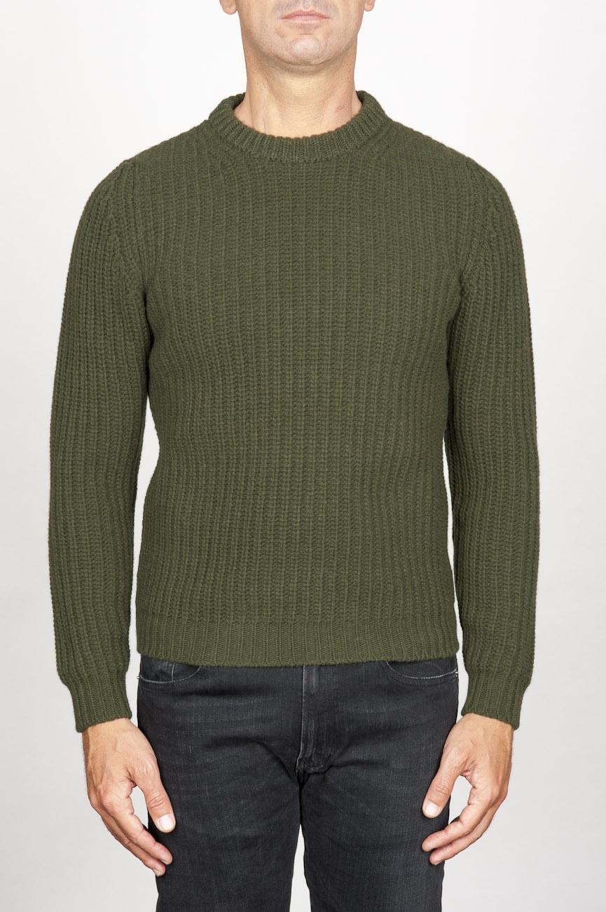 SBU 00946 Suéter clásico de cuello redondo en lana pura con punto de espiga verde 01