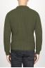 SBU 00946 Suéter clásico de cuello redondo en lana pura con punto de espiga verde 04