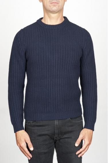 SBU 00947 Pullover girocollo classico blu in pura lana a costa inglese 01