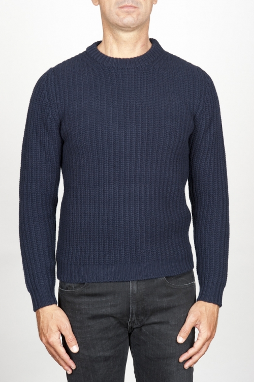 Classic crew neck sweater in blue pure wool fisherman's rib