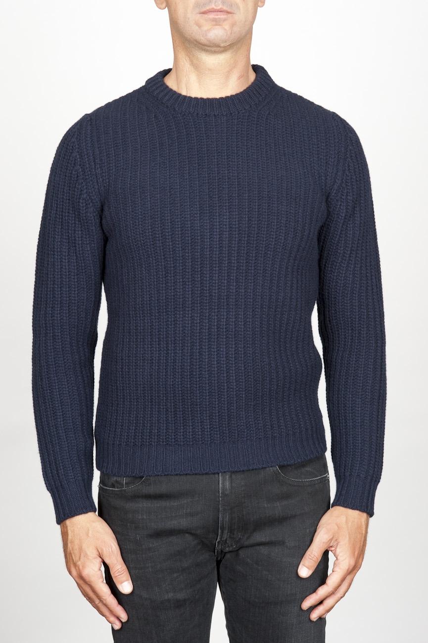 SBU 00947 Suéter clásico de cuello redondo en lana pura con punto de espiga azul 01