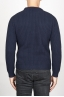 SBU 00947 Suéter clásico de cuello redondo en lana pura con punto de espiga azul 04
