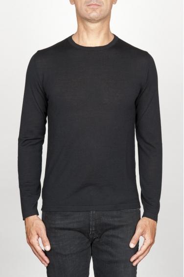 SBU 00948 Maglia classica girocollo in lana merino nera 01
