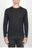 SBU 00948 Suéter clásico de cuello redondo en lana merina negro 01