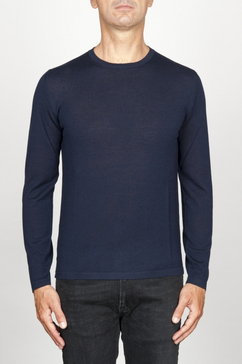 Classic crew neck sweater in blu merino wool