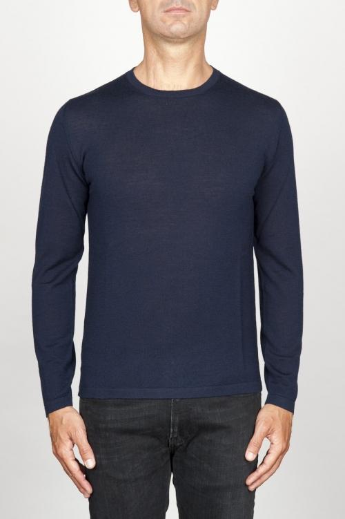 Suéter clásico de cuello redondo en lana merina azul