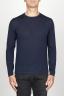 SBU 00950 Suéter clásico de cuello redondo en lana merina azul 01