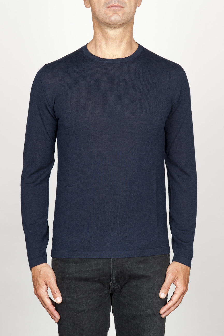 SBU 00950 Classic crew neck sweater in blu merino wool 01