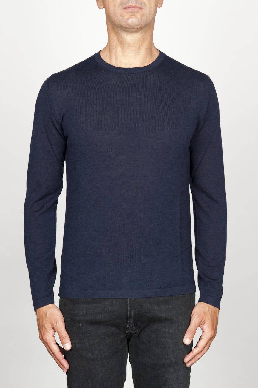 SBU 00950 Maglia classica girocollo in lana merino blu 01