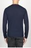 SBU 00950 Suéter clásico de cuello redondo en lana merina azul 04