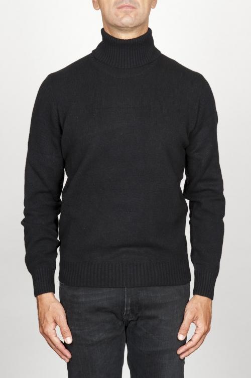 Jersey de cuello alto en cachemir negro