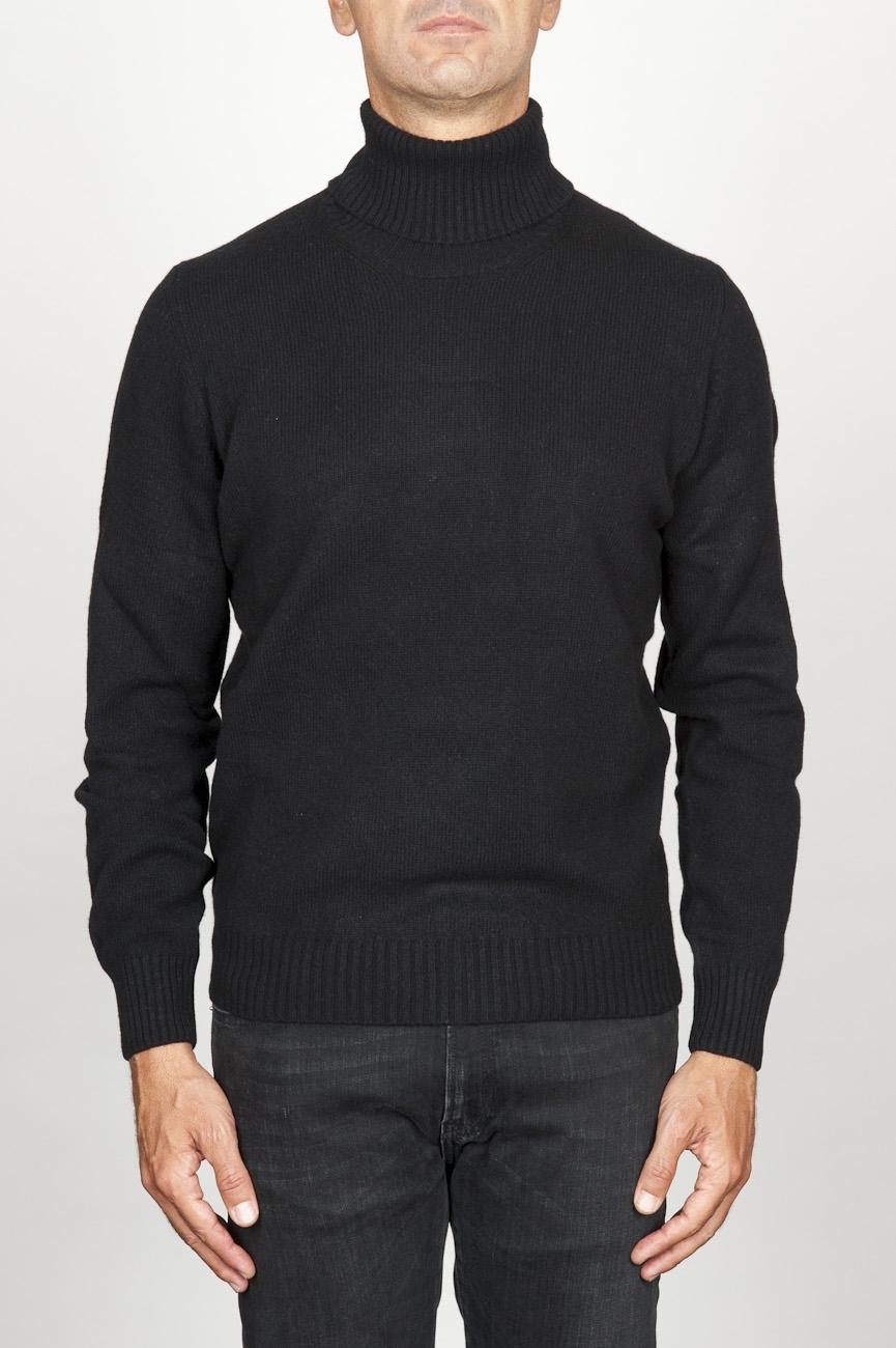 SBU 00951 ブラックカシミアのクラシックなタートルネックのセーター 01