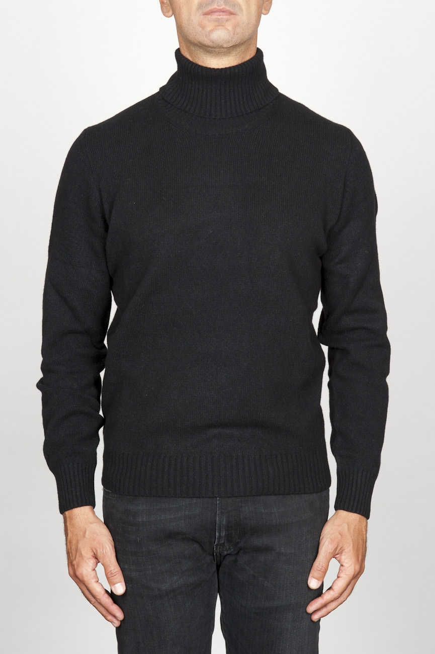 SBU 00951 Classic turtleneck sweater in black cashmere 01
