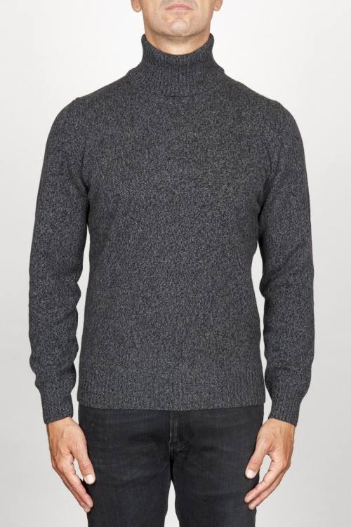 Classic turtleneck sweater in grey cashmere