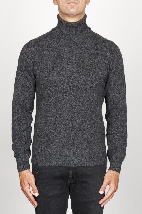 Jersey de cuello alto en cachemir gris