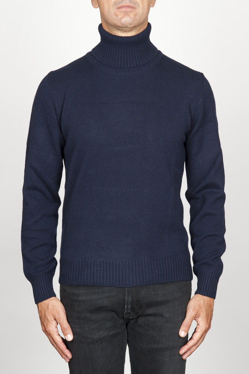 SBU 00953 ブルーカシミアのクラシックなタートルネックのセーター 01