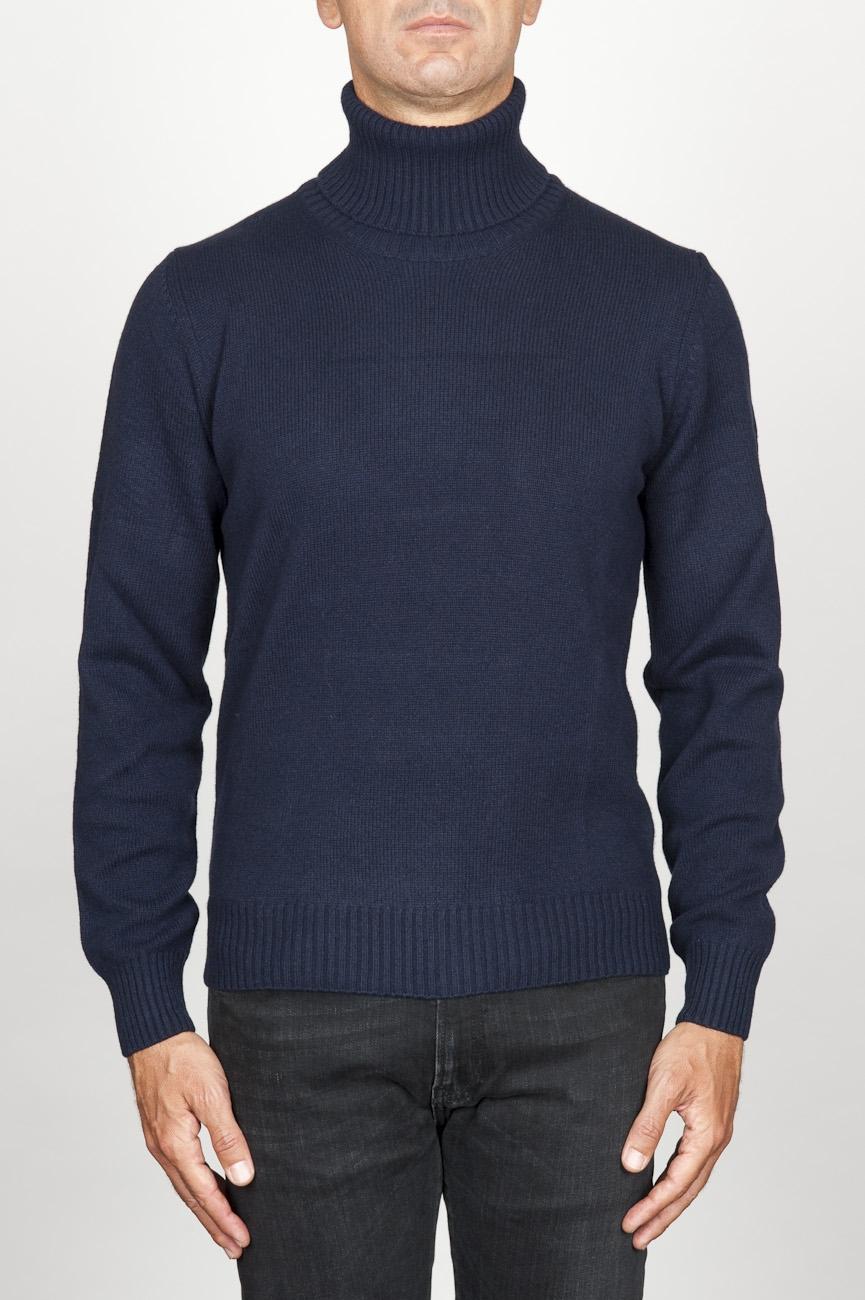 SBU 00953 Jersey de cuello alto en cachemir azul 01