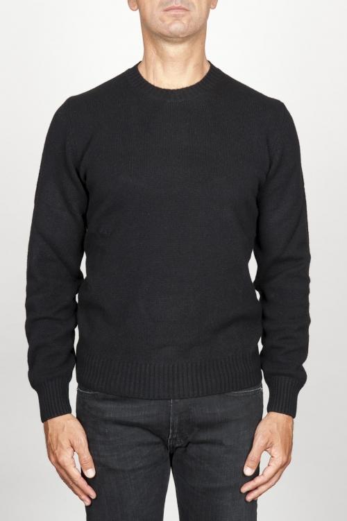 SBU 00954 Suéter clásico de cuello redondo en mezcla de cachemir negro 01