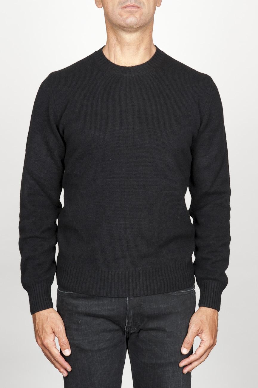 SBU 00954 ブラックカシミアブレンドのクラシッククルーネックセーター 01
