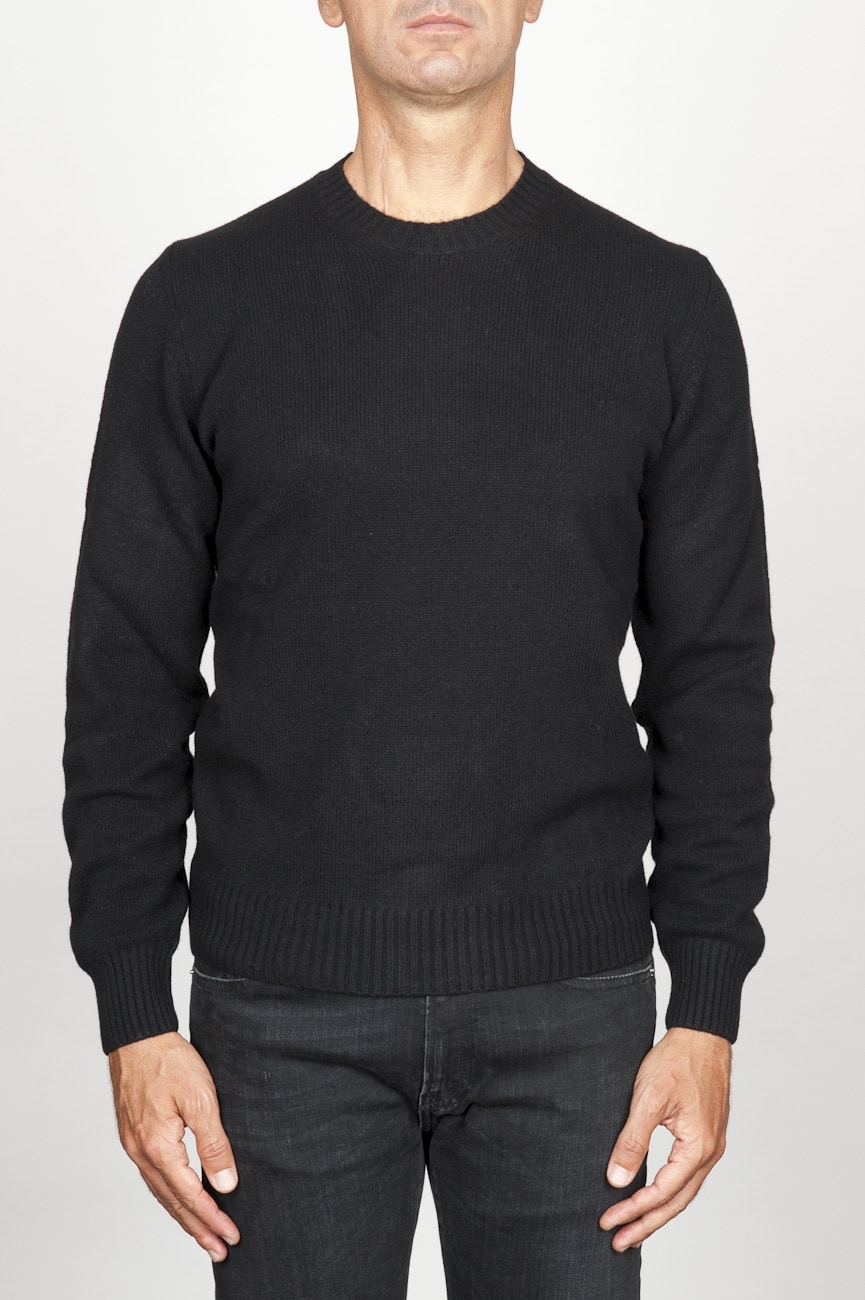 SBU 00954 Classic crew neck sweater in black cashmere blend 01