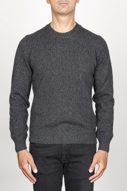 SBU 00955 Classic crew neck sweater in grey cashmere blend 01