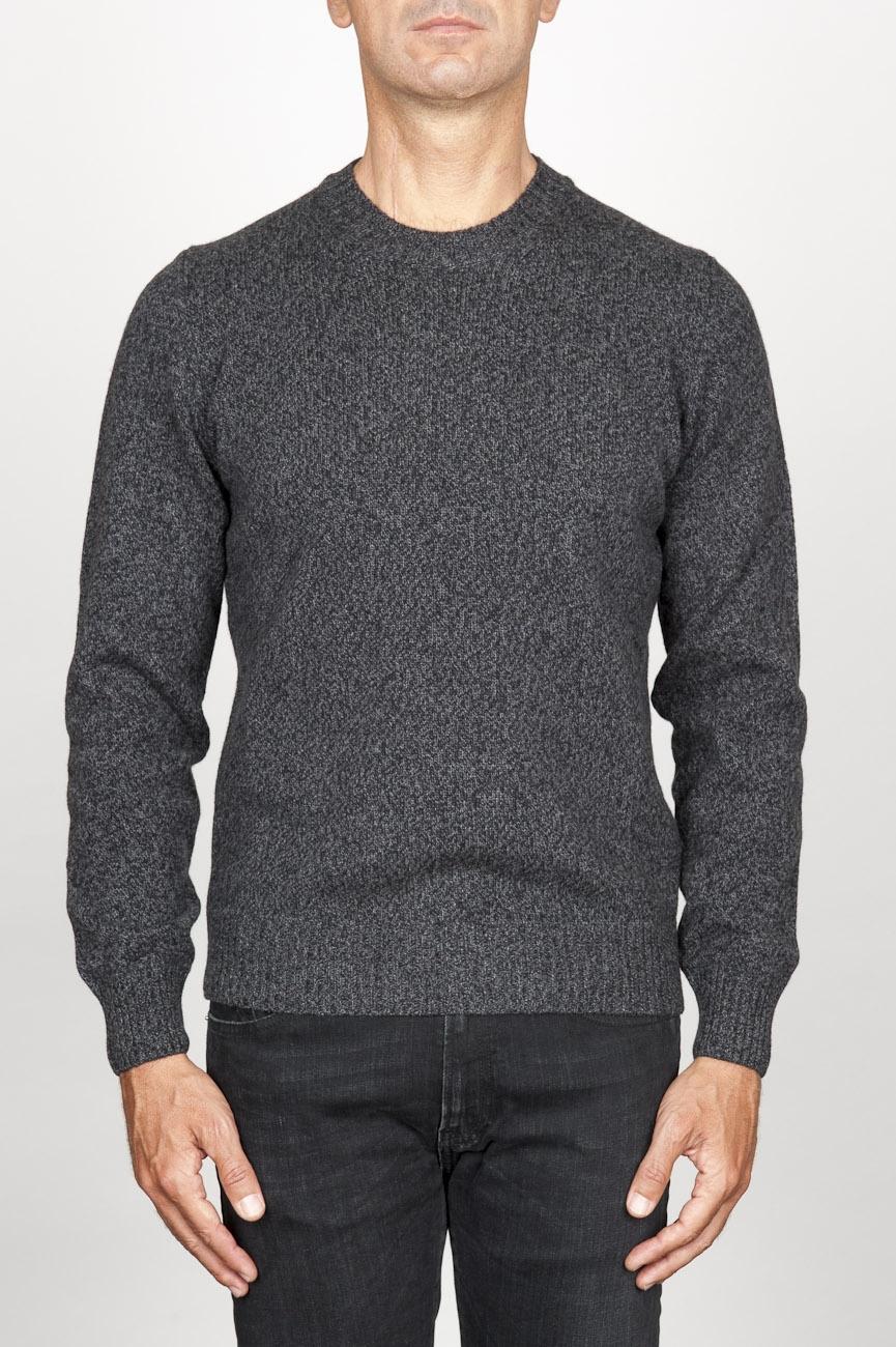 SBU 00955 灰色のカシミアブレンドのクラシッククルーネックセーター 01