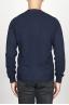SBU 00956 Classic crew neck sweater in blue cashmere blend 04