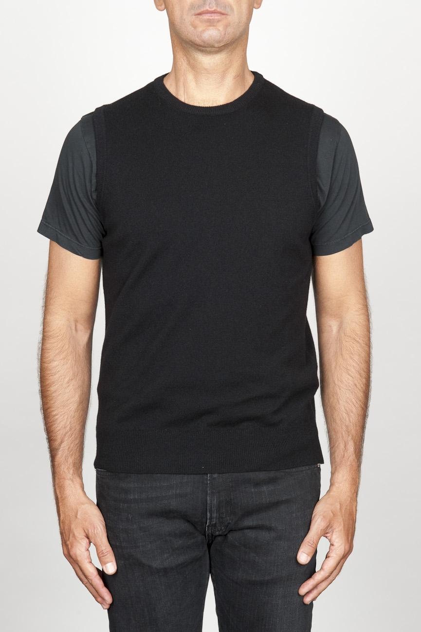 SBU 00957 Chaleco clásico de cuello redondo en mezcla de cachemir negro 01