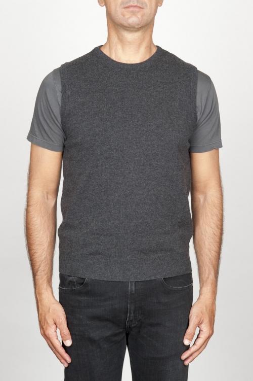 SBU 00958 Gilet girocollo classico in maglia di misto cashmere grigio 01