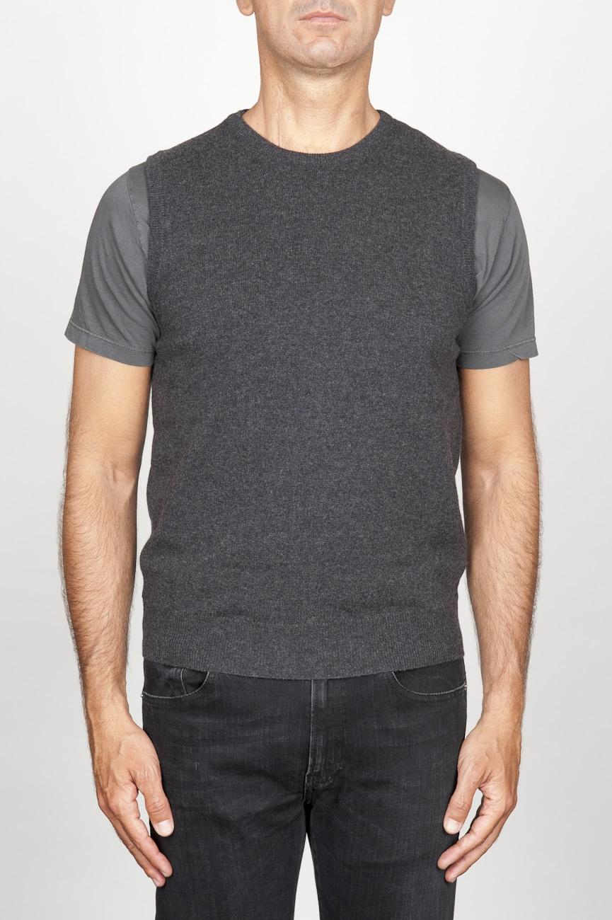 SBU 00958 Classic round neck cashmere blend grey sleeveless sweater vest 01